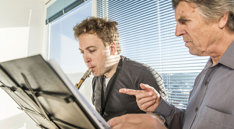 adult learning a musical instrument for the first time