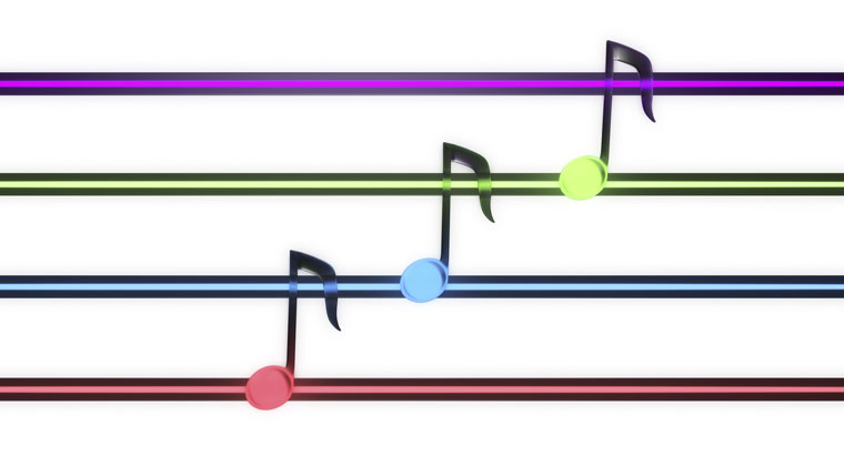 fun colorful musical notes on a scale while practicing
