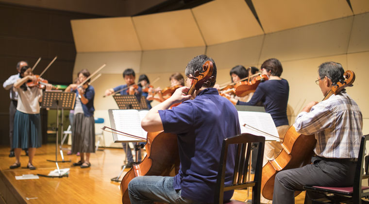 summer workshop of adults playing string instruments