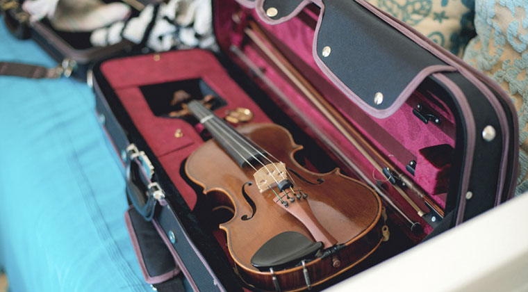 violin string instrument being cared for in case over the summer