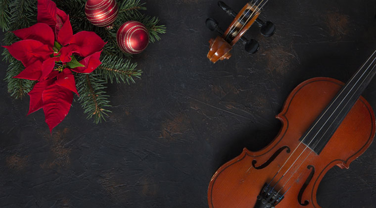 Christmas ornaments with string instruments plus cool violin and viola songs for the holidays