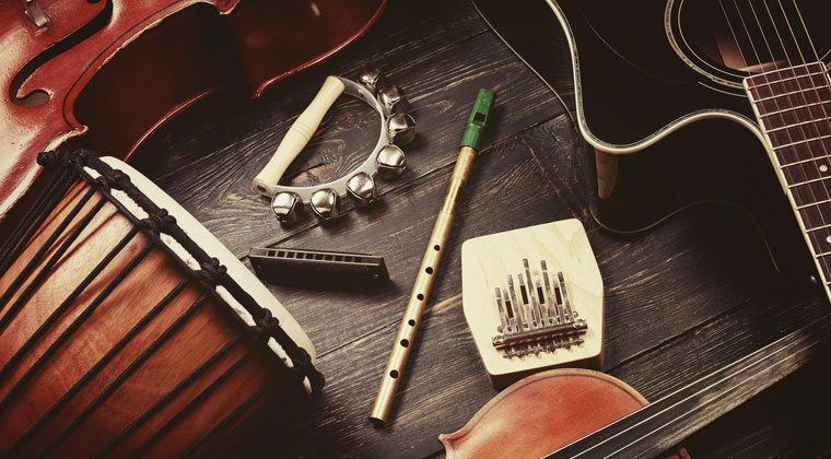 array of instruments to form your own music group