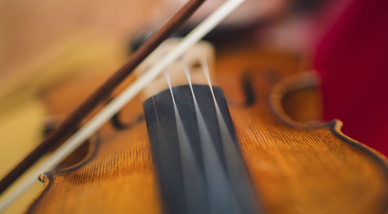 closeup view of vioin strings and bow