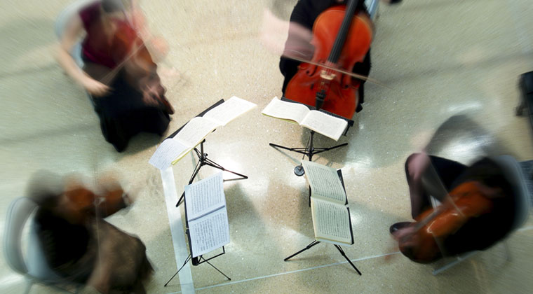 string quartet playing outside in the summer