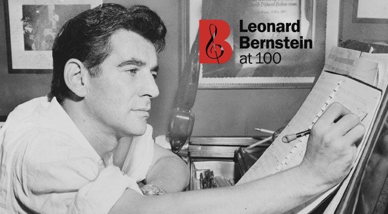 Leonard Bernstein writing a musical score