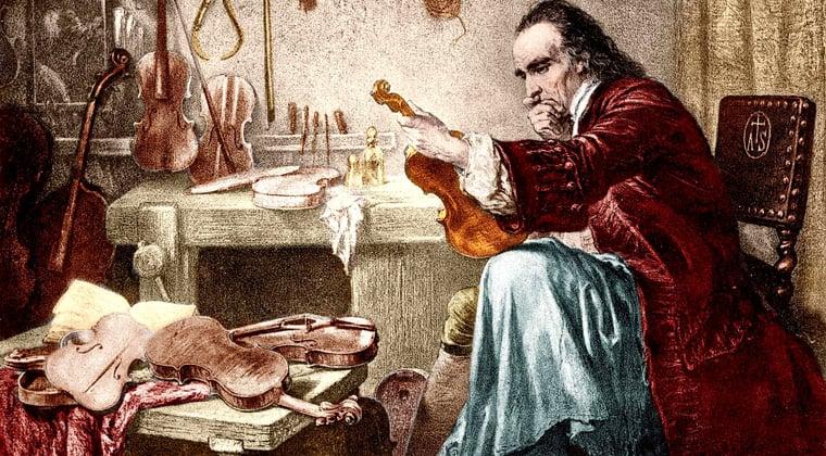 Drawing of Antonio Stradivari examining an instrument