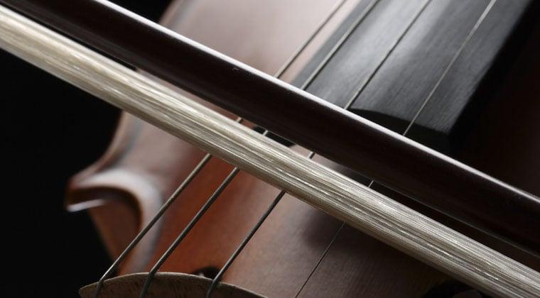 close up of violin bow hair: synthetic vs. natural