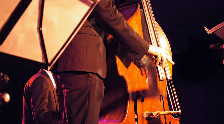 bass jazz player playing upright slap on his bass.