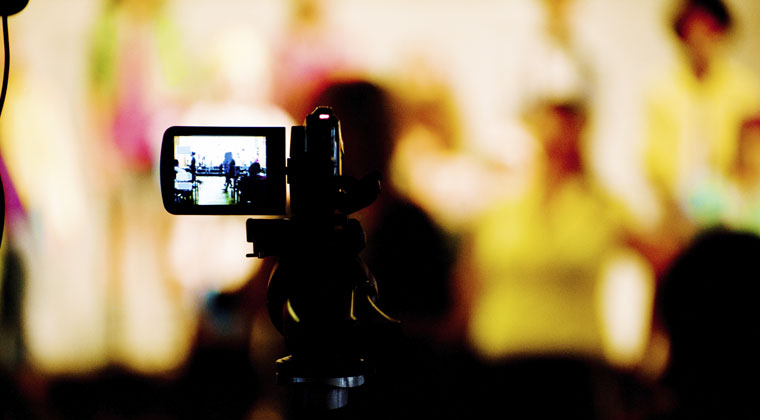 Camera video recording a performance
