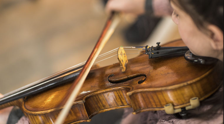 A close up of a violin being played and a round up of advanced, intermediate and beginner violin strings